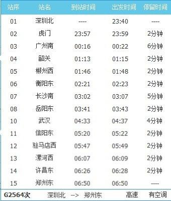 G2564次列车时刻表_深圳北到郑州东G2564次